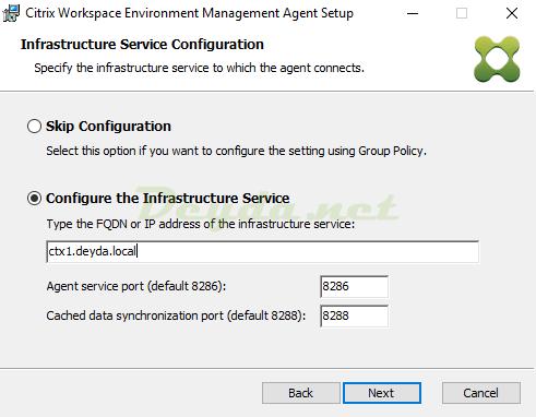 Citrix Workspace Environment Management Agent Configure the Infrastructure Service