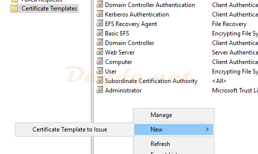 Certificate Console New Certificate Template to Issue