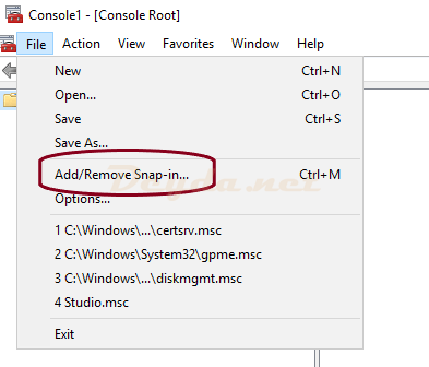 mmc Add/Remove Snap-in