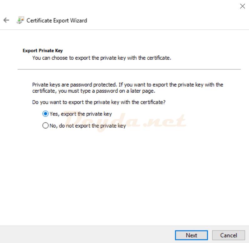 Certificate Export Wizard Export Private Key