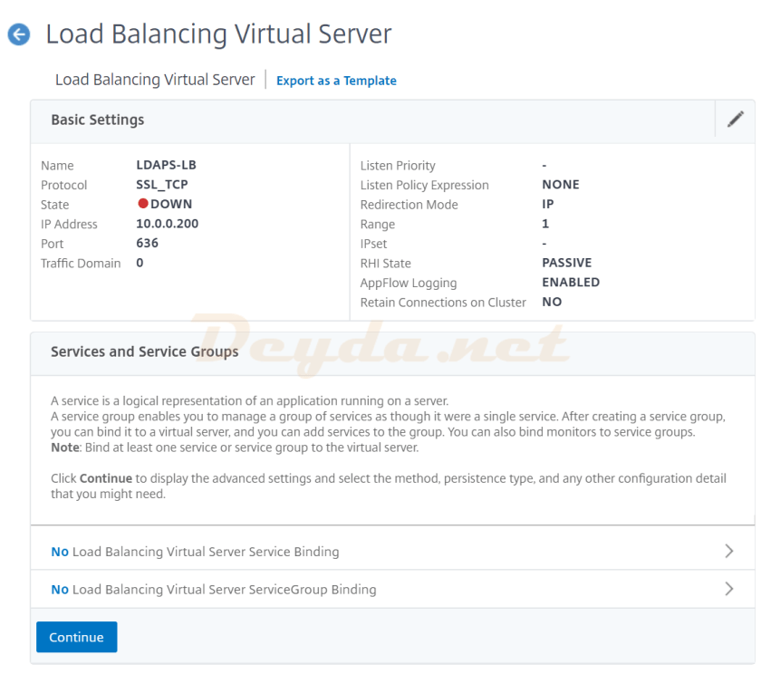 Load Balancing Virtual Server Basic Settings Continue