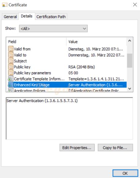 Certificate Enhanced Key Usage