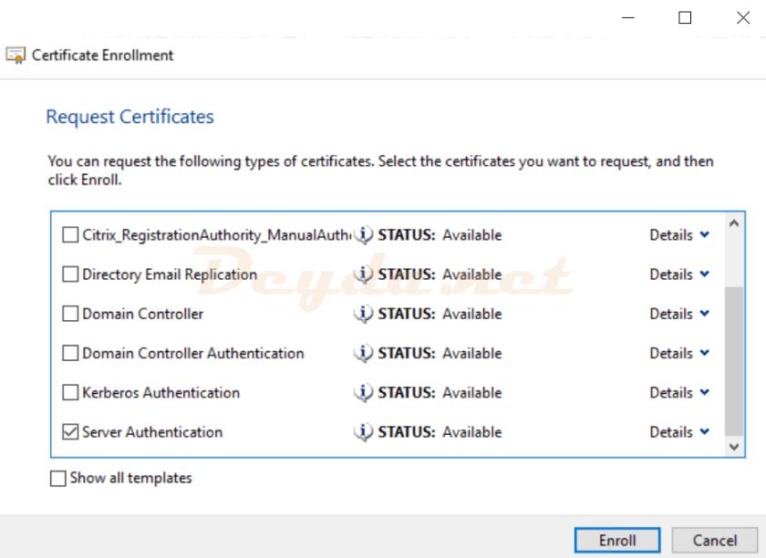 Certificate Enrollment Request Certificate