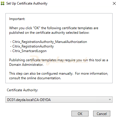 Setup certificate authority FAS Server