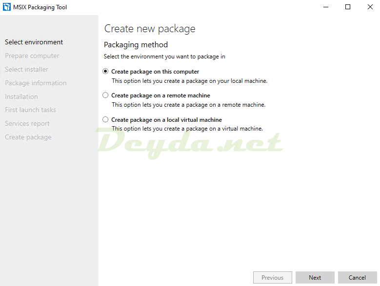 Create package on this computer
