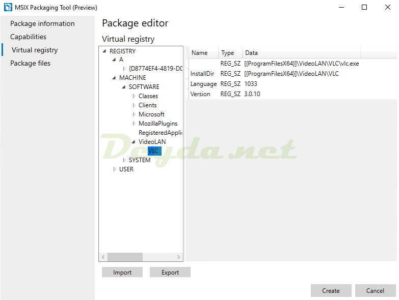 Package editor Virtual registry