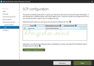 SCP configuration Enterprise Admin Authentication Service Azure Active Directory