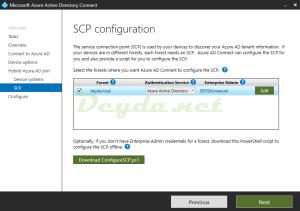 SCP configuration service connection point