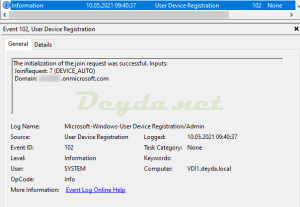 Event ID 102 The initialization of the join request was successful