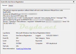 The get join response operation callback failed with exit code Event ID 204