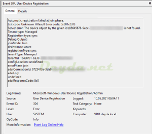 Event ID 304 Automatic registration failed at join phase