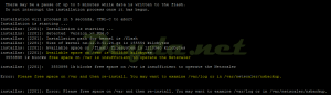 Error: No space left on /flash/ filesystem, aborting installatio