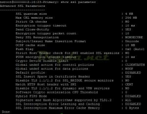 show ssl parameter