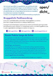 De flyer informeert (in)directe omwonenden over de werkzaamheden aan het bruggedicht aan de Parkhavenbrug. Ook wordt aandacht besteed aan de route van poëzie langs de Schie.