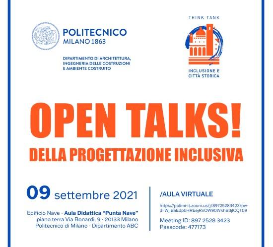 Open Talks dedicata ai temi dell'Inclusione e della città storica