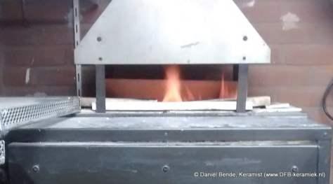 Keramiek gasoven tijdens reductie stook