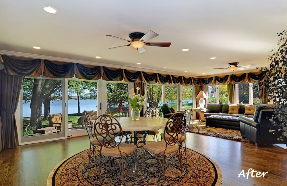 Family Room Home Furnishings, Window Treatments, Home Remodel Before & After