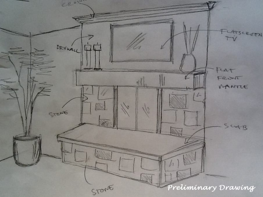 Preliminary FIreplace Design Drawing