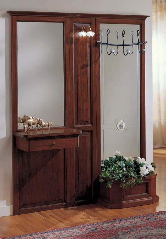 Classici mobili da ingresso in legno con specchi e appendiabiti. Parete Ingresso 1 Cassetto E Fioriera Df Mobili Classici