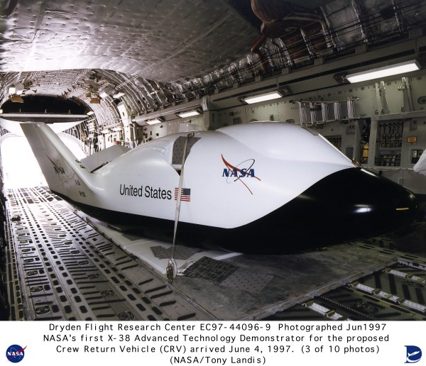 X-38 EC97-44096-9: X-38 Arrival at NASA Dryden on June 4, 1997