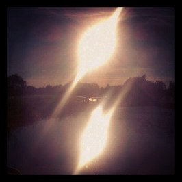 Sun reflecting off of the Forth and Clyde canal.