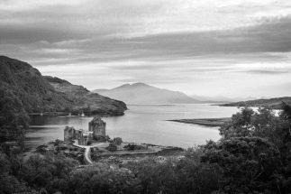 Black and white photograph featuring Eilean Donan Castle