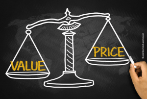 scale with value and price on either side