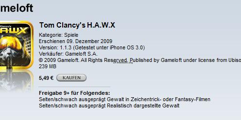 Tom Clancy's H.A.W.X im Appstore