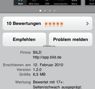 Bewertungen im Appstore – Bild App aufeinmal wieder 5 Sterne