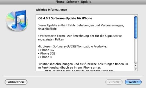 iOS Update auf 4.0.1 erschienen und iPad Update auf 3.2.1