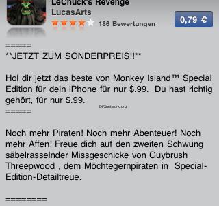 Monkey Island 2 Special Edition für das iPhone zum SUPER Preis