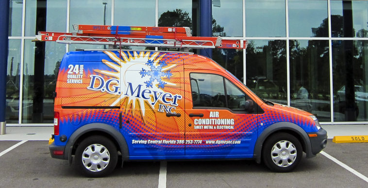 Company photo -- Transit Van parked in front of Mercedes Benz dealership (customer). Photo with permission Gary Yeomans.