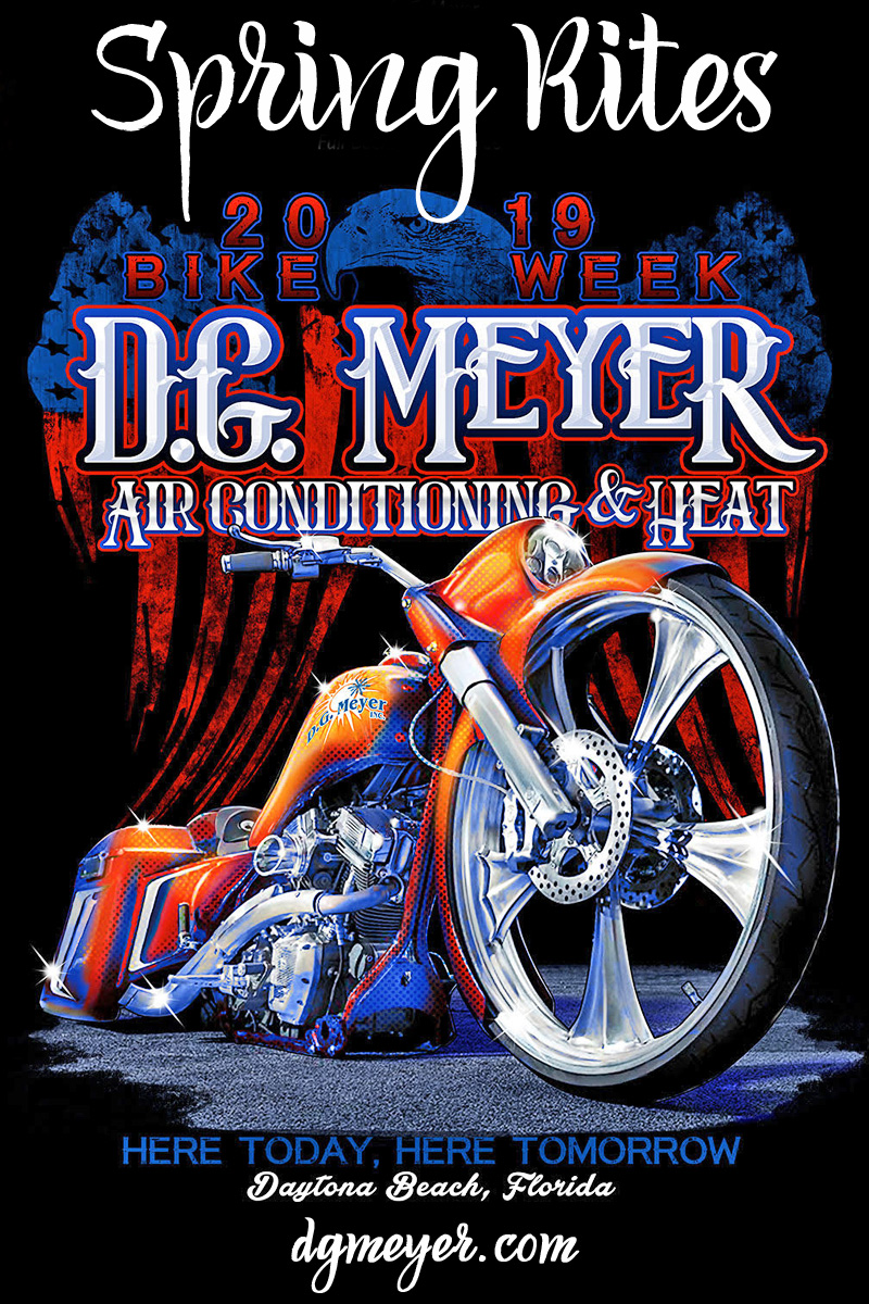 Signs of Spring in Daytona Beach: 2019 D.G. Meyer Bike Week Tee Shirt