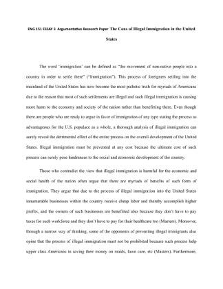 Argumentative Essay Illegal Immigration | Docoments Ojazlink
