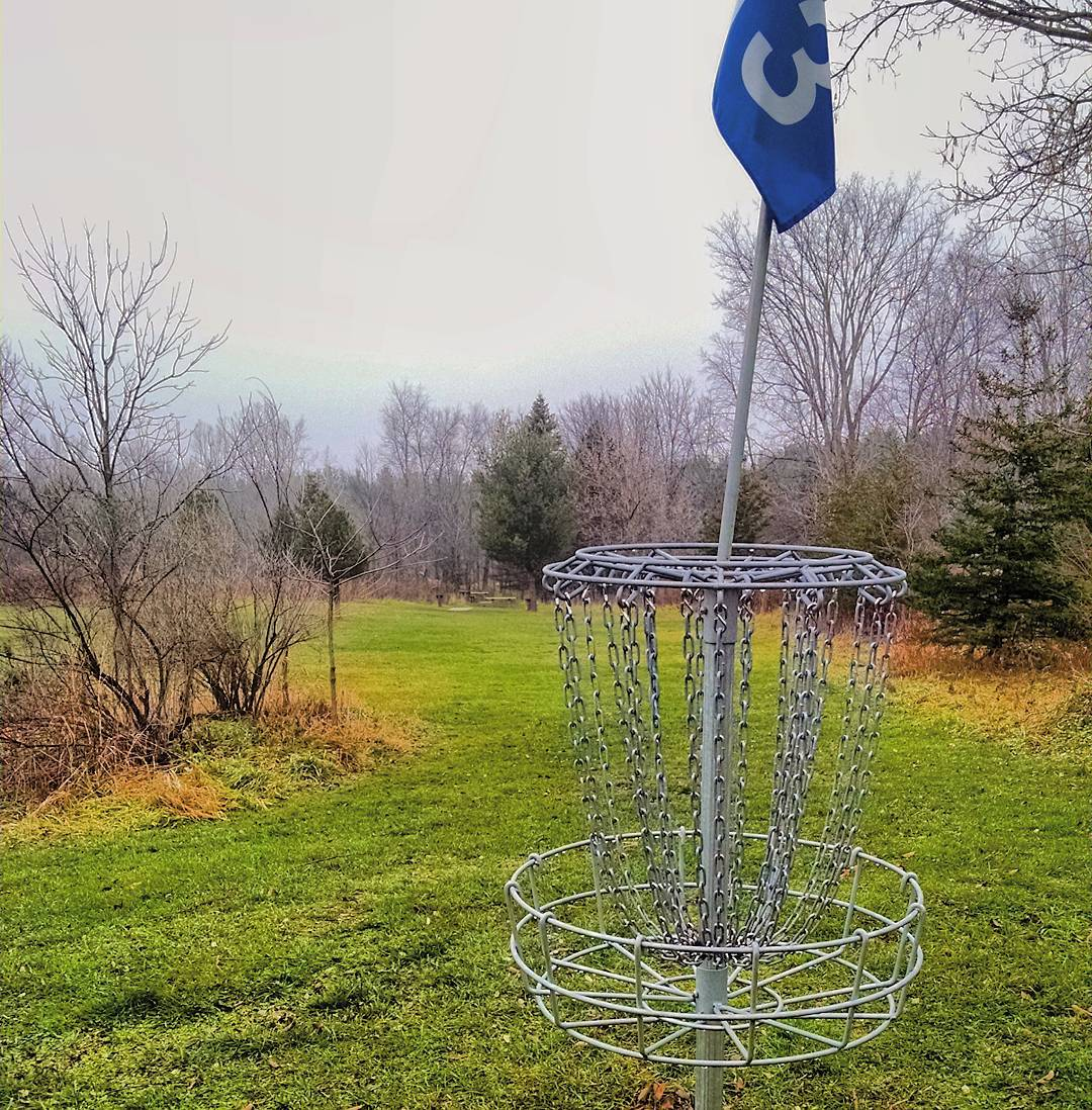 Disc golf strategy - look back from the basket to the tee to find a line