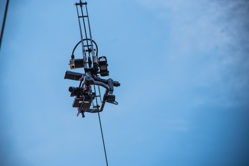Cable cam with Sony A7 against blue sky
