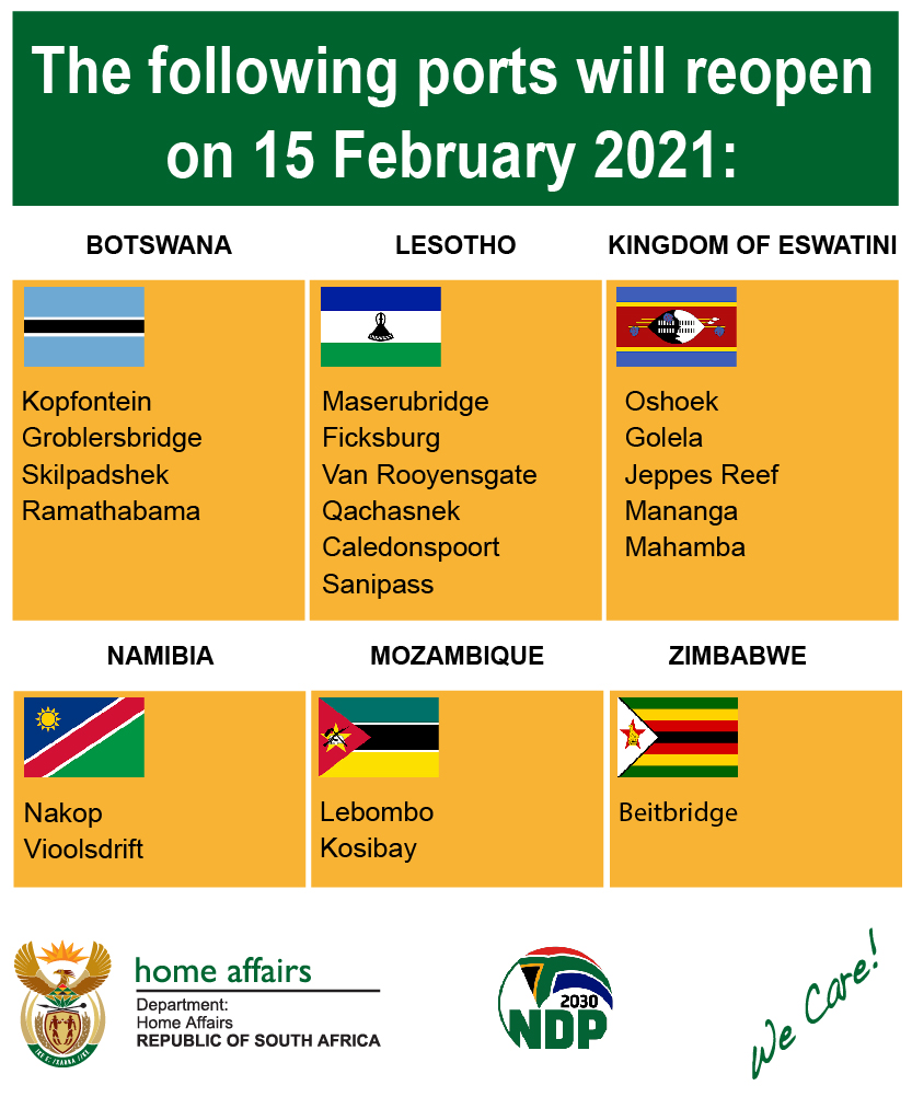 South Africa repoens 20 land border ports on 15 February 2021.