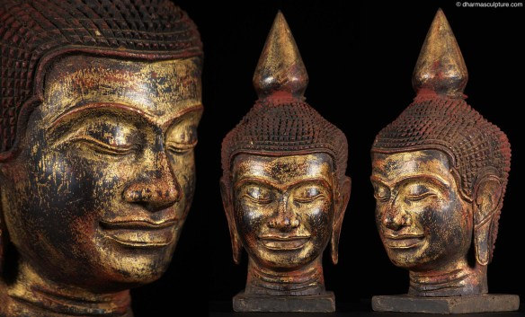 Buddha head cambodian gilded wood statue