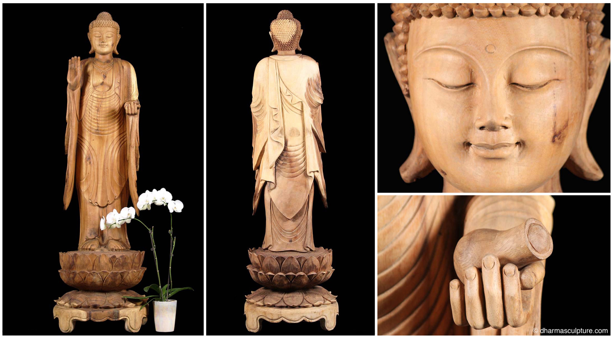 Dharma sculpture blog page 2 of 5 buddha statues buddha this beautifully serene balinese wood buddha stands on an intricately carved three tiered lotus base lord buddhas right hand is raised in the abhaya mudra buycottarizona