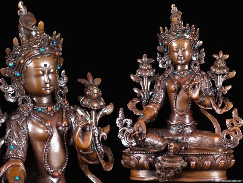 "Tibetan Dolma, Green Tara Statue 9"""