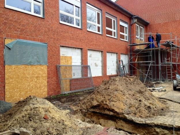 Mensabau Gymnasium am Wall Verden: Bauarbeiten am 13.2.2014