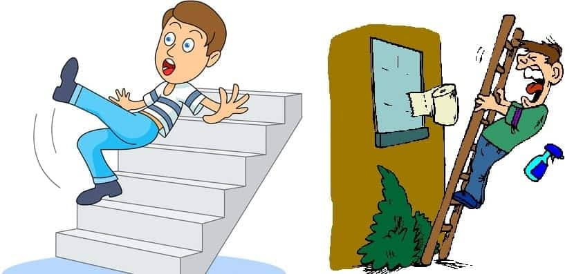 Be careful while climbing the stairs and ladders.