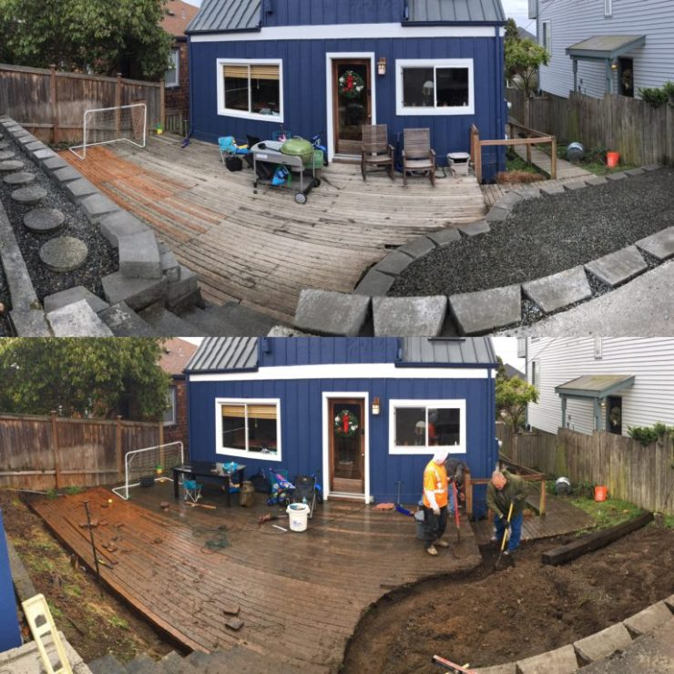 Retaining wall before and after