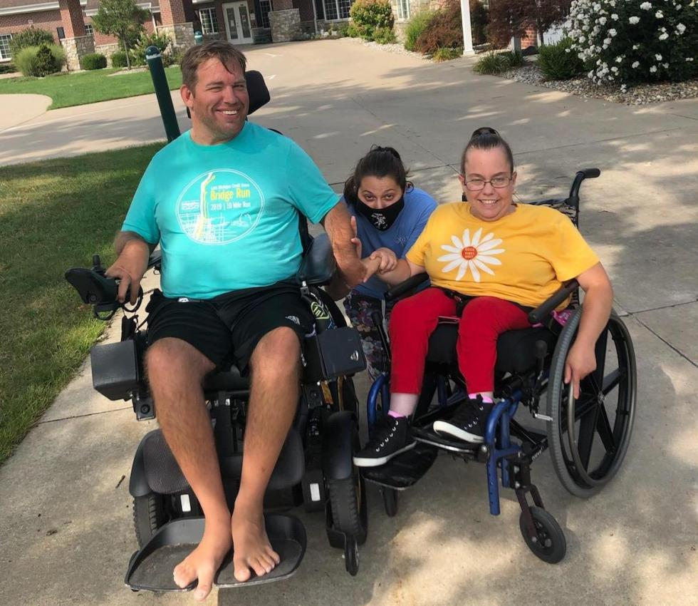 Kaitlyn with residents