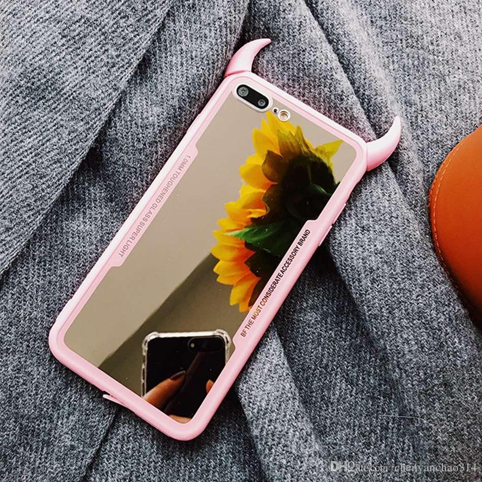 housse mobile cas de telephone de miroir de luxe pour iphone 7 6 6s 5 8 plus mignon 3d couverture corne de diable pour iphone x xs max xr acrylique