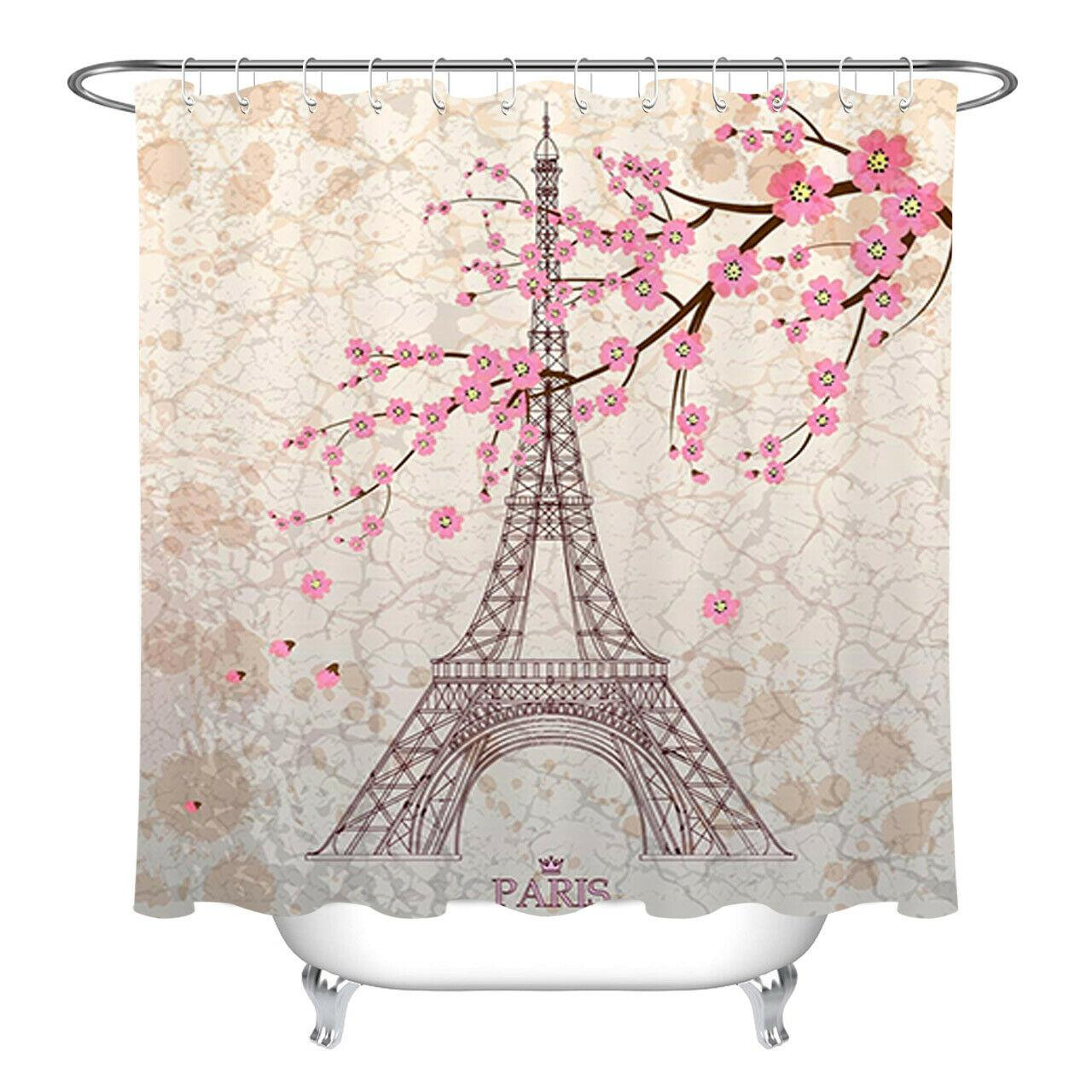 2019 Paris Eiffel Tower Pink Cherry Blossom Shower Curtain Bathroom Durable Fabric Mildew Bathroom Accessories Creative With 12 Hooks 180x180cm From