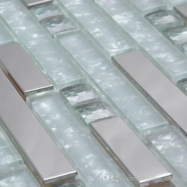 2021 silver metal glass mosaic tile