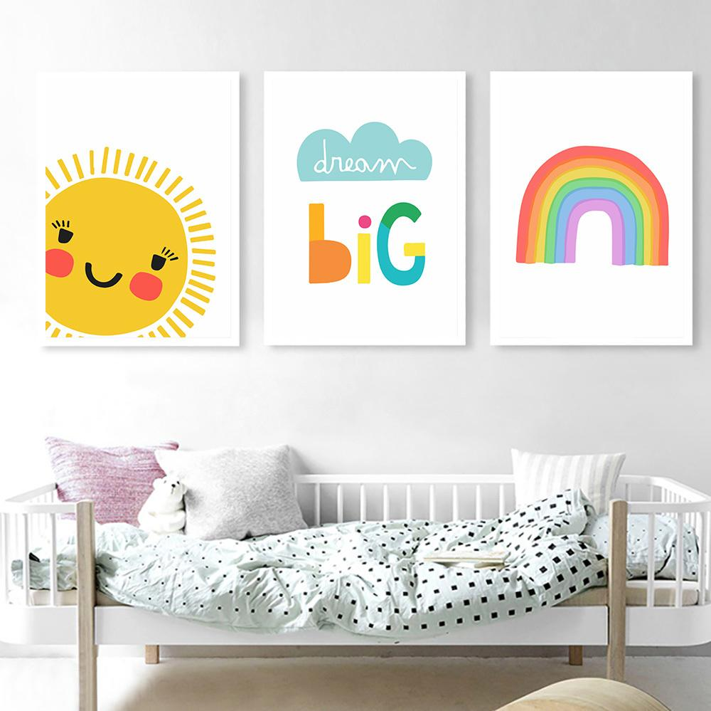 2021 Dream Big Poster Baby Room Sun Rainbow Nordic Wall Paintings Nursery Wall Art Canvas Blue Cloud Wall Pictures Kids Room Decor From Goodcomfortable 3 43 Dhgate Com