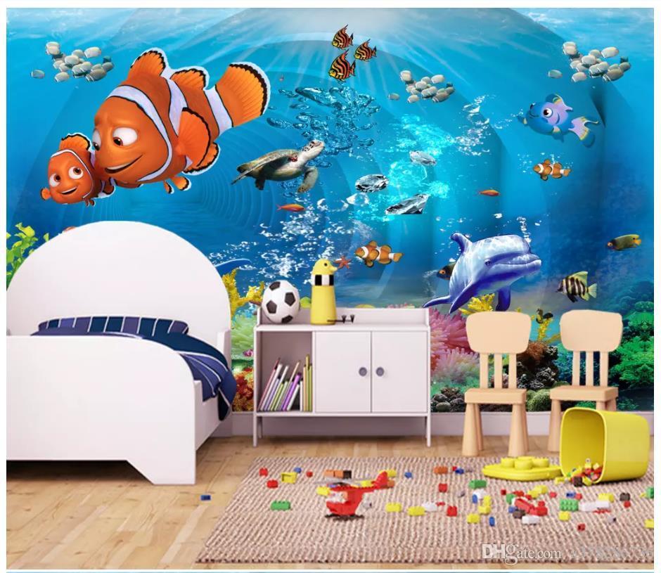 Acquista Carta Da Parati 3d Foto Personalizzata 3d Murales Carta Da Parati 3d Mondo Sottomarino Bella Mondo Sottomarino Camera Dei Bambini Bambini