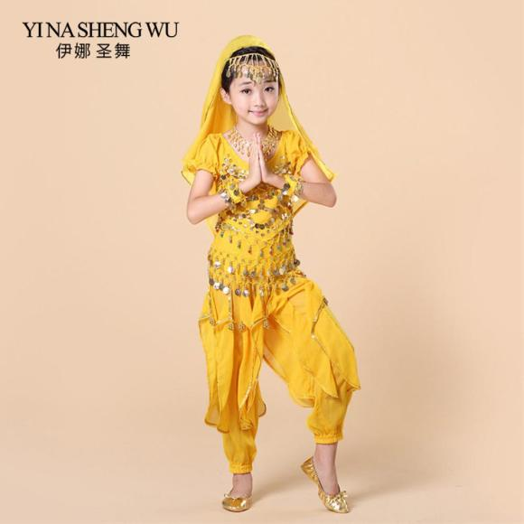 2020 Children Belly Dance Costumes Set Top+Pant+Waist Chain+ ...